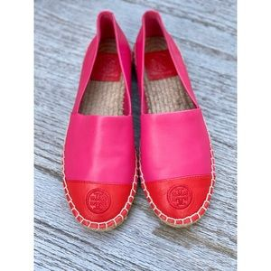 Pink & Red Tory Burch Genuine Leather Espadrilles